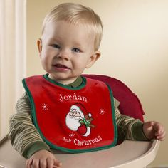 Personalized 'Baby's First Christmas' Bib