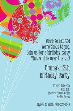 Kids Birthday Invitations - partyinvitations.com Adult Birthday Party, 12th Birthday, First Birthday Parties, First Birthdays, Invitation Design, Invitation Cards, Birthday Invitations Kids, Balloon Bouquet, Free Paper