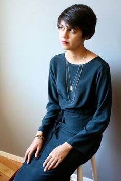 bauhaus dress black silk L by modaspia on Etsy