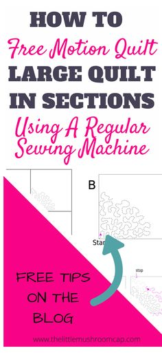Learn How to Machine Quilt Large quilt by regular sewing machine in section to avoid puckering.