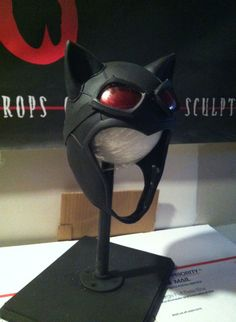 final Arkham City Catwoman cowl with completed goggles by Reevz Costumes and sculpture www.reevz666.com