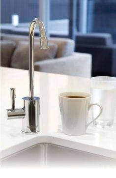 Schwans instant hot water filter system will change your life - it really will. Water Systems, Water Filter, Drinking Water, Sink, Chrome, Stuff To Buy, Design, Home Decor, Products