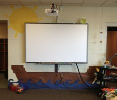 This teacher had a pirate theme and OMG LOOK at her SCREEN!!! A ship's sail; love it! Via: Secrets of the Second Grade Sisters