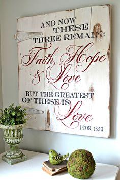 """Faith, Hope & Love"" Wood Sign {customizable} - Aimee Weaver Designs"