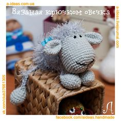 Вязанная овечка, схема, I can't read this language, but he's still really cute. Crochet Toys, Lamb, Teddy Bear, Quilts, Embroidery, Knitting, Sewing, Crafts, Animals