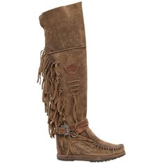 El Vaquero Women 70mm Delilah Fringed Suede Wedged Boots ($615) ❤ liked on Polyvore featuring shoes, boots, tan, suede cowboy boots, suede wedge boots, fringe cowboy boots, suede boots and lace up boots