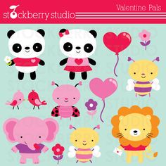 Valentine Pals Personal and Commercial Use Clipart Set. $5.00, via Etsy.