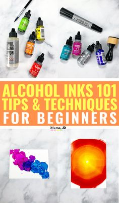 How To Use Alcohol Ink: Tips And Techniques For Beginners - diy jewelry tutorial Alcohol Ink Jewelry, Alcohol Ink Glass, Alcohol Ink Crafts, Alcohol Ink Painting, Alcohol Ink Tiles, Crafts For Teens To Make, Diy And Crafts, Craft Tutorials, Craft Projects