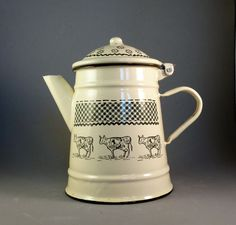 French Vintage Enamelware Coffee Pot. Enamelware Hot Water Pitcher. Enamelware Farmhouse Milk Pitcher. French Enamelware. BIRTHDAY GIFT. by JadisInTimesPast on Etsy
