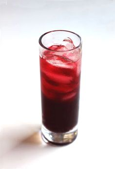 An herbal iced tea recipe using hibiscus flowers and ginger simple syrup.