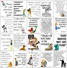 Hey, I raised daughters - these are cute! Disney quotes collage