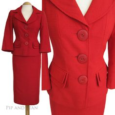 NEXT UK8 US4 RED SKIRT SUIT 1950S 50S INSPIRED WOMEN LADIES WOMAN SIZE #Next #SkirtSuit #SpecialOccasion