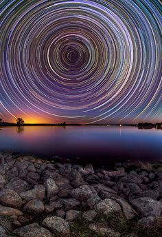 Gorgeous Star Trails in the night sky above the Australian outback By Lincoln Harrison.