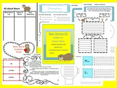 This unit include before, during, and after activities focused on Bear Snores On. Skills addressed through this unit include schema building about Bears, vocabulary, story elements including in-depth work with setting, characters and character traits, plot (beginning, middle, end), summarizing, making comparisons, and writing about reading.