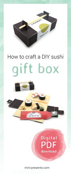 A yummy gift box for sushi fans! I show you how to craft a money gift box with a well documented instruction. Download the digital files an print it easily at home. Have fun! . . . #minipresents #diy #gift #printables #selfmade #presents #gifts #giftideas #handmade #handmadegifts #craft #handicraft #crafting #paper #papercraft #digitaldownload #digitalprints #printablebox #instantdownload #lastminute #paperbox #surprisebox #giftbox #papercrafter #sushi #sushibox #sushigift