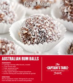 Australian Rum Balls: Sweet and unique. You'll love this treat from Down Under! #Captain #Morgan #CaptainsTable #recipe #dessert #rum
