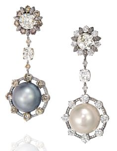 A pair of natural pearl and diamond ear pendants, by Wallace Chan. Estimate: HK$2,800,000-3,800,000. US$350,000-550,000. © Christie's Images Limited 2012. Price achieved HK$4,340,000 ($561,870)