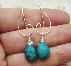 Turquoise Earrings - modern Sterling with Turquoise teardrops - wrapped turquoise earrings - silver spiral earrings - December birthstone by waterleliejewellery on Etsy