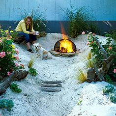 If you love the beach but can't find the time for regular visits, why not turn an unused corner of your backyard into a sandy                                            retreat? This miniature beach can be put together over a weekend for less than $200. Decomposed granite, sand, driftwood,                                            and grassy plants complete the seaside look.