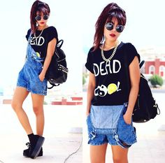 Retro Round Sunglass, Chain Necklace, Dead Cool Print T Shirt, Motel Demi Dungaree In Acid Wash Denim, Studded Bucket Backpack, Creepers