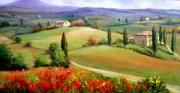 Christmas Scene Paintings - Tuscany panorama by Bruno Chirici
