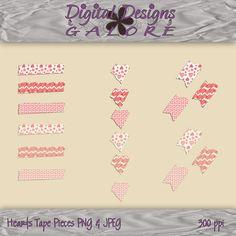Hearts Tape Pieces  Digital Tape  by DigitalDesignsGalore on Etsy, $2.99    #valentine's #digital #photocard #scrapbook #digiscrap