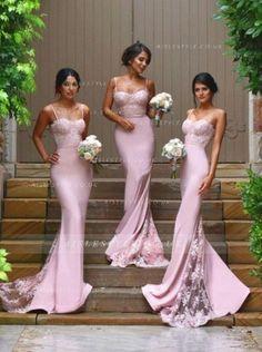 Popular Spaghetti Straps Long Chiffon Bridesmaid Dress with Lace _1