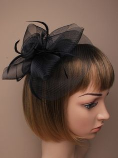 Black Fascinator with large mesh and feather by ClarasBoutiqueUSA, $19.00