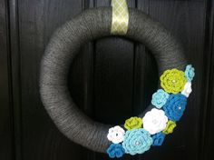 Spring Yarn Wreath with Crochet Flowers.