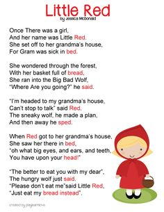 Apr~Little Red Riding Hood Poem *Free Printable* : Fairy Tale Lesson Plan for Preschoolers and Toddlers Red Riding Hood Story, Fairy Tales Unit, Traditional Tales, Traditional Stories, Fairy Tale Theme, Kids Poems, Funny Poems For Kids, Preschool Songs, Preschool Curriculum