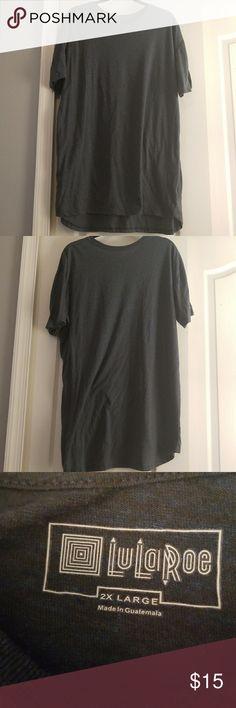 LulaRoe Patrick Tee Great used condition.  Short sleeve tee with slight hi-low hem.  Color is Blue gray.  Size XXL LuLaRoe Shirts Tees - Short Sleeve
