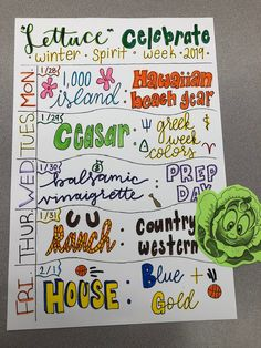 """AGHS """"Lettuce Celebrate"""" Winter Spirit Week can find Spirit week ideas and more on our website."""