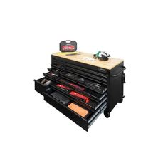 Husky Heavy-Duty 62 in. W 14-Drawer, Deep Tool Chest Mobile Workbench in Matte Black with Adjustable-Height Hardwood Top-HOLC6214BB1MYS - The Home Depot Tool Storage Cabinets, Storage Organization, Husky Tool Box, Mobile Workbench, Soft Close Drawer Slides, Steel Gauge, Electronic Recycling, Recycling Programs, Work Surface