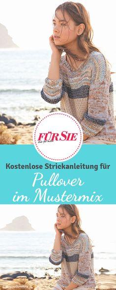 Kostenlose Strickanleitung für leichten Pullover im Mustermix