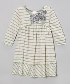 Take a look at this Oatmeal Stripe Rosette Dress - Girls on zulily today!