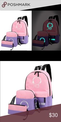 Luminous set backpack 3pcs 3 Pcs Set Luminous School BookBags Backpack Handbag Wallet Satchel Shoulder Travel Bag   Description Condition: 100% New  This Listing Includes 2 bags and 1 purse Backpack Bag: 16.14*10.63*4.72in (height*width*thickness) Shoulder Bag: 9.05*7.48*1.97in (height*width*thickness) Purse: 3.93*7.87*0.39in (height*width*thickness) Gender: Boy,Kids,Girls Interior: Cell Phone Pocket Exterior : Zipper Pocket Package Include 1 x Backpack Bag 1 x Shoulder Bag 1 x Purse bag…