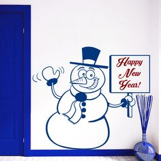 Cute Snowman New Arrived Chirstmas Home Room Shop Window Decor Wall Decals Vinyl Removable Wall Sticker Art Snowman Mural D-153