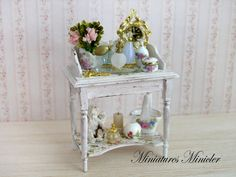 Miniature Dollhouse Dressing Table With Accessories by Minicler
