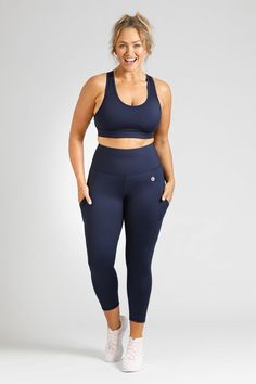 Simple, stylish, squat proof and pocket free, our Women's Activewear Navy Leggings in length are available in sizes in sizes Small to Navy Leggings, Downward Dog, Perfect Fit, Active Wear, Tights, Essentials, Sporty, Pockets, Stylish
