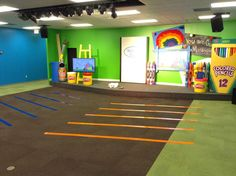 Creative lines to keep kids from touching during our worship/dance time, but also still lets them have lots of free space.