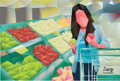 Mulher fazendo compras em supermercado. Desenho vetorial - - Feito em Adobe Illustrator