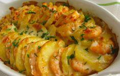Portuguese Shrimp & Potato Gratin Recipe - Portuguese Recipes - Food Recipes from Portugal Fish Recipes, Seafood Recipes, New Recipes, Dinner Recipes, Cooking Recipes, Favorite Recipes, Healthy Potato Recipes, Healthy Soup, Restaurant Recipes