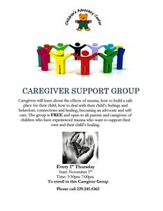 The Children's Advocacy Center of Lowndes County is offering a FREE Caregiver Support Group every 1st Thursday starting November 5, 2015 from 5:30pm - 7pm. For more information please call 229-245-5362
