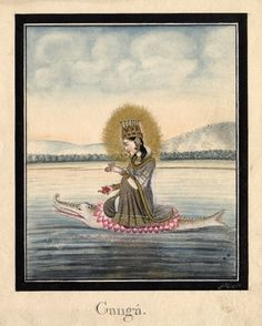 Gaṅgā. Early 19th century.Company School, Patna, India.  The personification of the sacred river Ganges. She is shown seated on a lotus flower which rests on the back of a makara (mythical aquatic creature)
