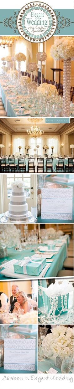Tiffany blue wedding details. Would do away with a fair bit of the bling, myself, but like the tiffany blue tablecoth and black chairs, etc.