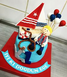 #sailing #boat #balloon #boy #first #age #birthday #cake