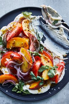 Tomato and Peach Salad With Whipped Goat Cheese Recipe - NYT Cooking Whipped Goat Cheese, Cashew Cheese, Cheese Salad, Salad Works, A Food, Good Food, Goat Cheese Recipes, Grilled Bread, Bowls