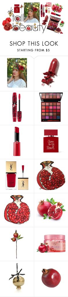 """""""POMEGRANATE"""" by vualia ❤ liked on Polyvore featuring beauty, LAQA & Co., Physicians Formula, Smashbox, Giorgio Armani, Bella Freud, Yves Saint Laurent, Silken Favours, Michael Aram and Sue Parkinson Home Collection"""