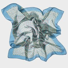 CARRÉ DANDY TURQUOISE | rue des roses Printed silk square. Made in France.