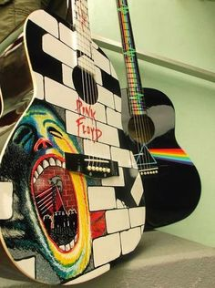The wall and dark side of the moon guitar art http://www.guitarandmusicinstitute.com